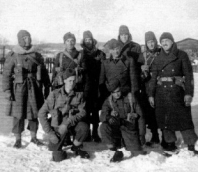 Gander Workers 1937.<br> Identified are Mr. Pretty, Mr. Bowe and Archie Stanford at far right. <br> Photo courtesey of Sterling <br> Stanford.